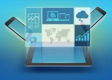 Grafiken, Ikonen zur Tablette und Telefon Stockfoto