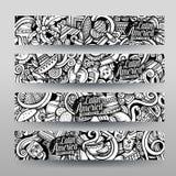 Grafiken vector lateinamerikanische Gekritzelfahnen Lizenzfreie Stockbilder