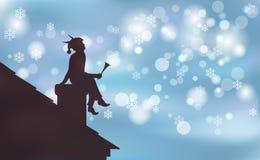 Grafikhintergrund glückliches Weihnachten, die Elfe, die auf Rohr sitzt, genoss Nachtschneefälle Die Ansicht von der Dachillustra stock abbildung