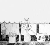 grafiki atramentu oryginalny widok okno Obrazy Royalty Free