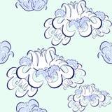 Grafiki deseniowy kwiecisty błękit, biały Wektorowy ilustracyjny Bezszwowy Fotografia Stock