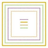 Grafiksatz quadratische Rahmen und Streifen von geometrischen Formen mit Blumenverzierungsmotiven für Aufkleber, Plakate, Ikonen stock abbildung