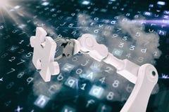 Grafisch beeld van 3d de figuurzaagstuk van de robotholding Stock Foto