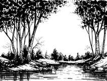 Grafisch boslandschap Royalty-vrije Stock Foto's