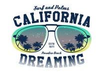 Grafisch de surfert-stuk van Californië stock illustratie