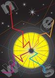 Grafisch Kompas bij Nacht Stock Foto
