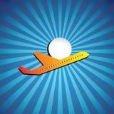 Grafisch lijnvliegtuig of straalpictogram die op een heldere dag vliegen Stock Afbeelding