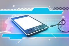 grafisch met modieus mensenpictogram op een slimme telefoon Stock Foto