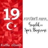 Grafisch ontwerp aan Turkse vakantie 19 u Anma, Genclik ve Spor Bayrami, vertaling van mayisataturk `: 19 kunnen Herdenking van A vector illustratie