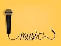 Grafisch ontwerp van muziek, microfoon` s draad als vorm van het muziekalfabet vector illustratie