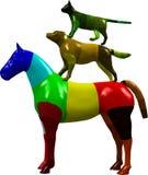 Grafisch paard, hond en kat royalty-vrije illustratie