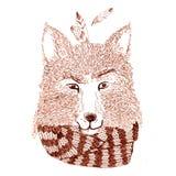 Grafisch portret van de vos met sjaal Royalty-vrije Stock Foto's