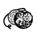 Grafisch Schwarzweiss-Taschenuhren Stockbild
