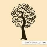 Grafisch silhouet van wervelingsboom zonder bladeren vector illustratie