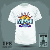 Grafisch T-shirtontwerp - Miami Florida Stock Foto's