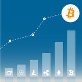 Grafisch van de bitcoingroei met verschillende cryptocurrency op blauwe gradiëntachtergrond Vlak pictogramontwerp Vector illustra stock illustratie