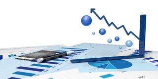Grafisch van financiële analyse Royalty-vrije Stock Foto's