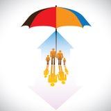 Grafisch van de Veilige pictogrammen & paraplu s van familiemensen Stock Afbeelding