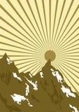 Grafisch van zon over bergen Stock Afbeelding