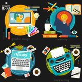 Grafisch verlaag me, Copywriting, Creativiteit en Freelance Conceptenbanners Stock Afbeelding