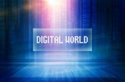 Grafische abstrakte digitale Welttexthintergrundkonzept-Reihe stock abbildung
