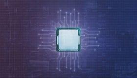 Grafische bewerkereenheid GPU en micro-electronische kringen stock afbeeldingen