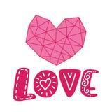 Grafische bloemen van de meetkundehart en tekst liefde VectordieIllustratie op achtergrond wordt geïsoleerd Huwelijk, St Valentin vector illustratie