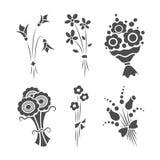 Grafische Blumensträuße, Vektorsatz von lokalisierten Gegenständen Lizenzfreie Stockfotos