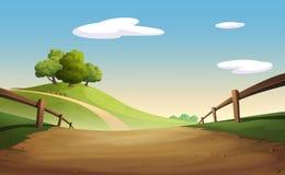 Grafische boom en heuvel Stock Illustratie