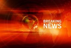 Grafische Brekende Nieuwsachtergrond met Aardebol in Centrum Stock Afbeeldingen