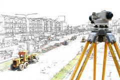 Grafische Bulldozer en stoomwals stock afbeeldingen
