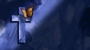 Grafische Christelijke kruis en vlinder Stock Afbeelding