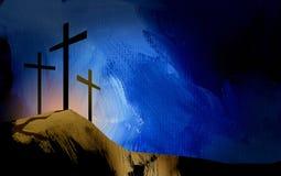 Grafische christliche Kreuze von Jesus-Landschaft Stockfoto