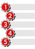Grafische Darstellung des Arbeitsprozesses in fünf Schritten mit Schaltelementen Lizenzfreies Stockfoto