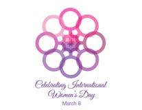 Grafische de bloem van de vrouwen` s Dag en tekst Stock Foto's