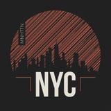 Grafische de Stad van New York, t-shirtontwerp, T-stukdruk, typografie Stock Foto