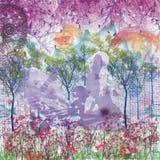 Grafische digitale Malereifrau der purpurroten Liebe und ein Mann stockbilder