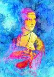Grafische Effektcollage meiner Wiedergabe von Malerei Dame mit einem Hermelin durch Leonardo da Vinci Stockbild