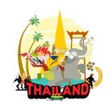 Grafische elementen voor het reizen in Thailand grafische reeks van cultuur in Thailand - vector royalty-vrije illustratie
