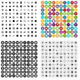 100 grafische elementenpictogrammen geplaatst vectorvariant Stock Foto