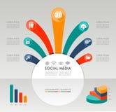 Grafische Elementillustration Sozialmedien Infographic-Schablone. lizenzfreie abbildung