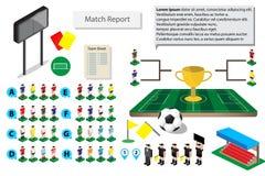 Grafische Fußballfußballikone für Matchbericht Stockbilder