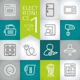 Grafische Geometrie der Elektronik moderne Vektorikonen eingestellt Lizenzfreies Stockfoto