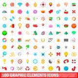 100 grafische geplaatste elementenpictogrammen, beeldverhaalstijl Stock Afbeelding