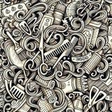 Grafische gezeichnetes nahtloses Muster der künstlerischen Gekritzel des Friseursalons Hand Lizenzfreie Stockbilder