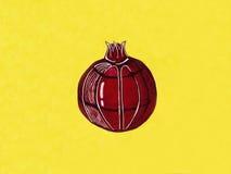 Grafische granaat op een gele achtergrond Royalty-vrije Stock Foto