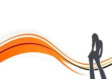 Grafische het Silhouet van de vrouw Stock Fotografie