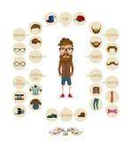 Grafische Hippie-Elemente der Hippie-Informationen Stockbilder