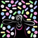 Grafische illustratie met decoratieve opiaten 2 Stock Afbeelding