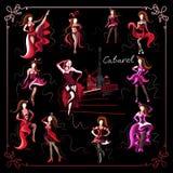 Grafische illustratie met het cabaret dancer_set Stock Afbeeldingen